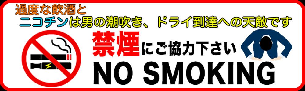 ニコチンは男の潮吹きとドライオーガズム到達への天敵です。禁煙にご協力ください。